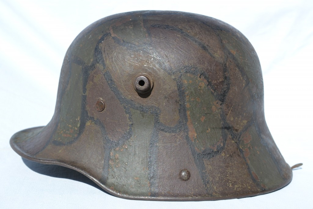 A solid example of a camouflaged M16 helmet. A small amount of gravel was mixed into the paint to create an uneven matte finish exactly as General Ludendorff recommended.