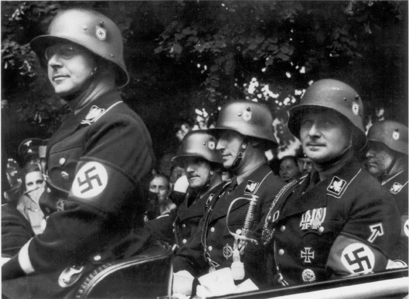 Himmler and other members of the SS leadership wearing the new SS decals