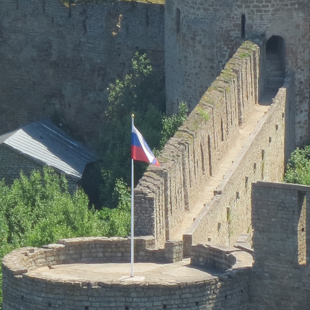 While standing at the top of the Narva Fortress you can see right into Russia