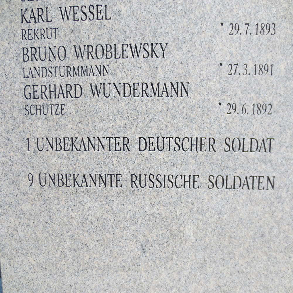 The names of German and even some Russian POWs are recorded on this monument