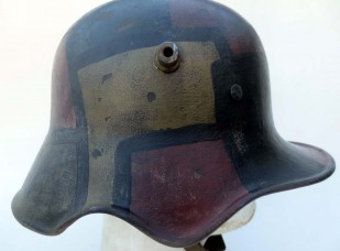 German M18 cut-out helmet with fall camo