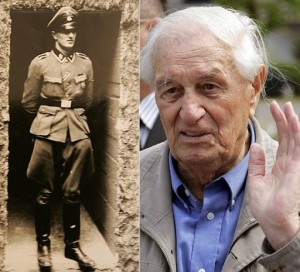On the left, Rochus Misch at the Wolf Lair. The photo on the right was taken shortly before his death.