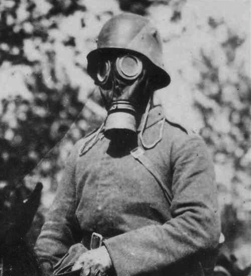 camo helmet with gas mask