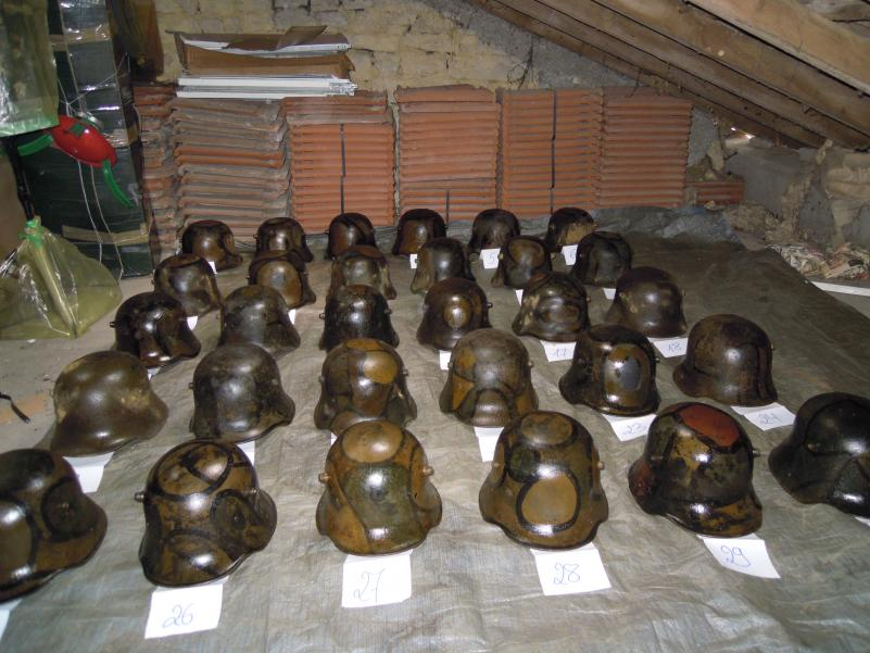 The discovered helmets after being cleaned