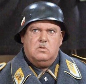 Sgt. Schultz wearing his iconic double decal Luftwaffe helmet