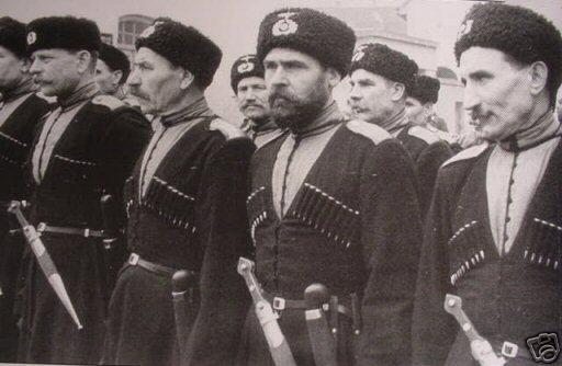 Terek Cossacks in their traditional dress. Note the German insignias on their Kubankas