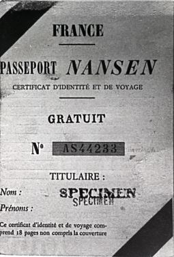 Nansen passport, issued to White Russian émigrés to show they were stateless people. The British would have easily recognized this paper work