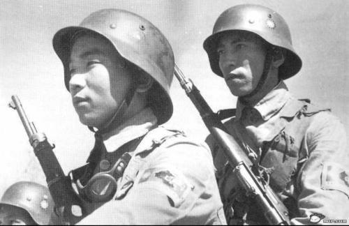 Chinese Nationalist Soldiers wearing their new German M35 helmets