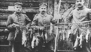 German soldiers with rats they had killed
