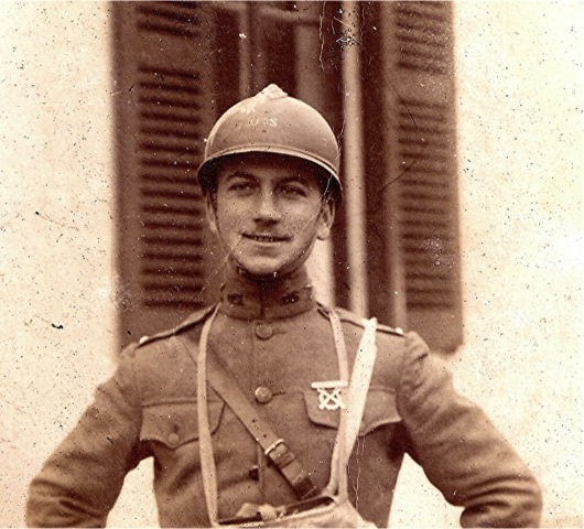This American officer wears his Adrian helmet with the French insignia removed, and replaced with a hand rendered U.S.