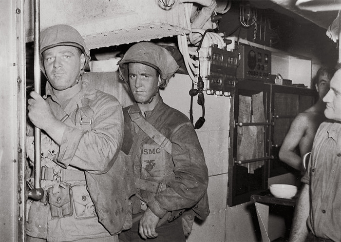 Sgt. Walter Carroll and Pfc. Dean Winters of the 2nd Marine Raider Battalion on the submarine USS Nautilus Makin Raid