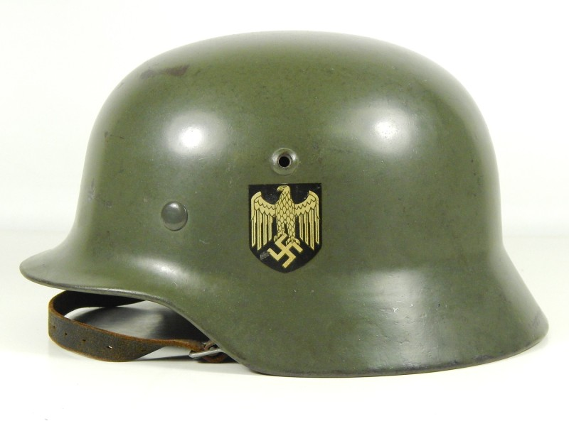 German Heer M35 helmet. Note the semi gloss finish, perfect for the parade ground, not so for the Russian steppe.