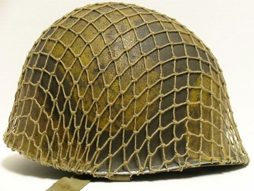 Original M1 helmet painted with Vesicant paint